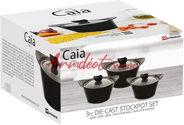 Black CAIA Marbell Die-Cast Aluminium Stockpot 3pc Set with Non-Stick Coating